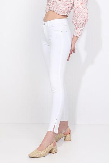 بنطلون جينز أبيض ضيق للنساء - Thumbnail