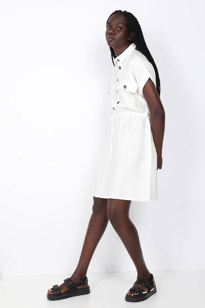 MARKAPIA WOMAN - Women's White Short Sleeve Waist Drawstring Dress (1)
