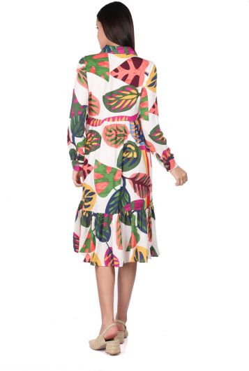 MARKAPIA WOMAN - Tropical White Printed Gathered Dress for Women (1)