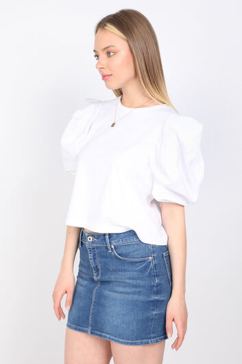 MARKAPIA WOMAN - Женская белая футболка с рукавами арбуз (1)