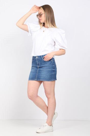 Женская белая футболка с рукавами арбуз - Thumbnail