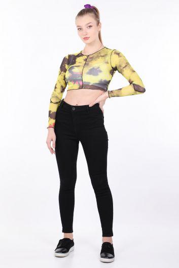 Женская желтая прозрачная укороченная блуза с принтом тай-дай - Thumbnail