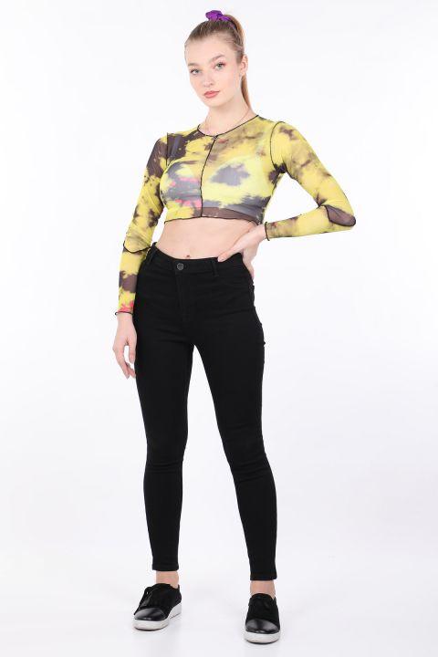 Женская желтая прозрачная укороченная блуза с принтом тай-дай