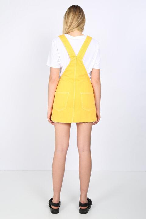 Женский желтый джинсовый комбинезон с юбкой