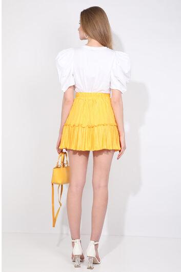 تنورة قصيرة مطوي صفراء نسائية - Thumbnail