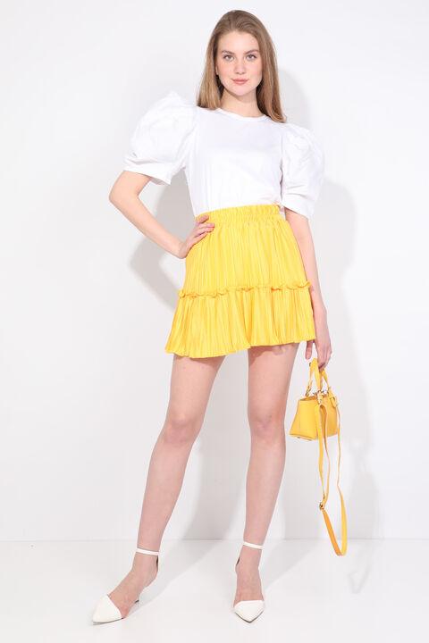 Women's Yellow Pleated Mini Skirt