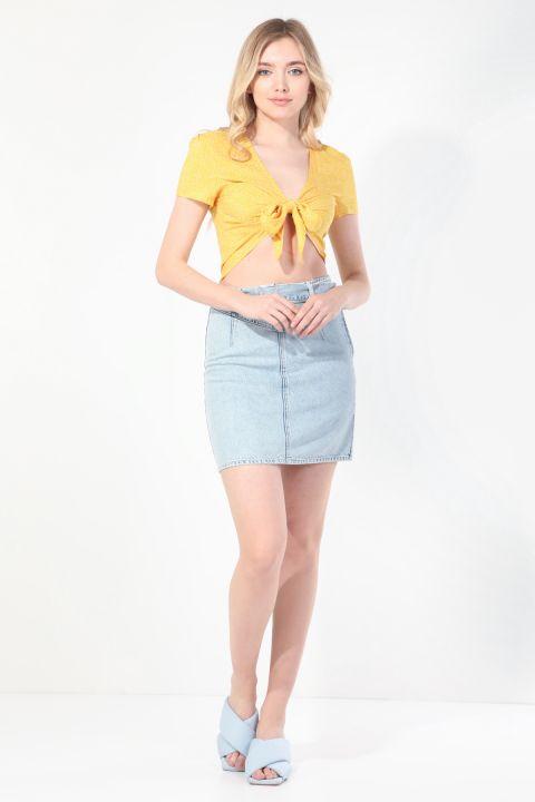 بلوزة نسائية صفراء منقط بولكا