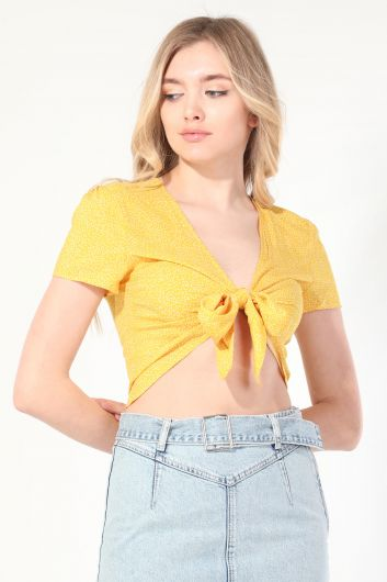 Women's Yellow Polka Dot Tie Blouse - Thumbnail