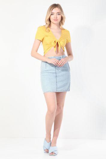 Женская желтая блуза с завязками в горошек - Thumbnail