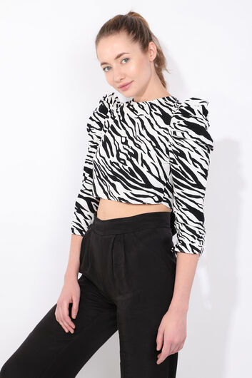 MARKAPIA WOMAN - Women's Zebra Pattern Tied Back Crop Blouse (1)