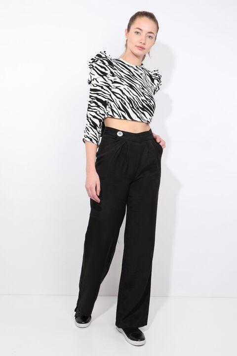 Женская укороченная блузка с завязками на спине с рисунком зебры