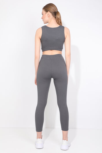 Women's Anthracite Ribbed Sports Tights Set - Thumbnail