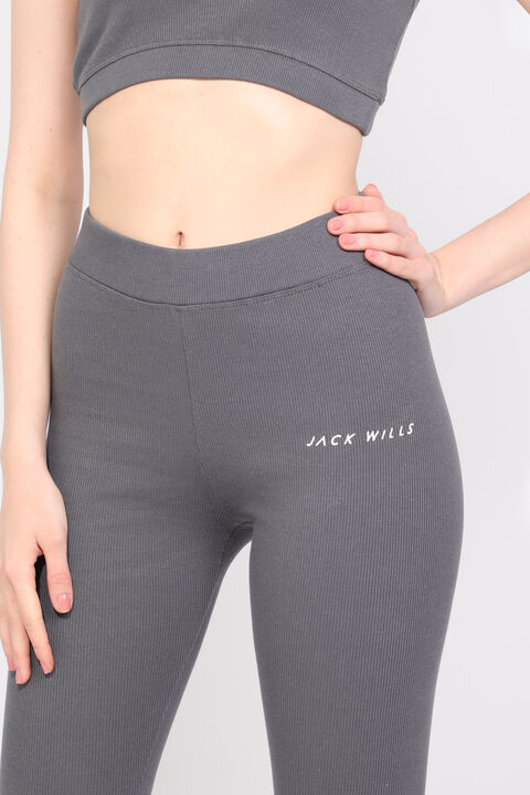 Women's Anthracite Ribbed Sports Tights Set