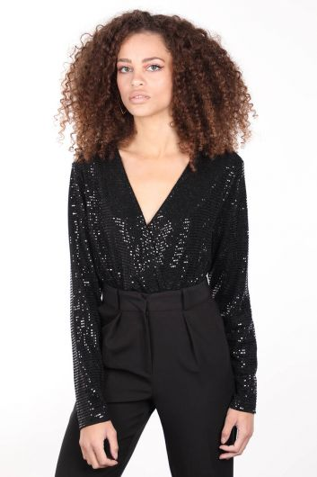 Women's Black Sequined Double Breasted Collar Bodysuit - Thumbnail