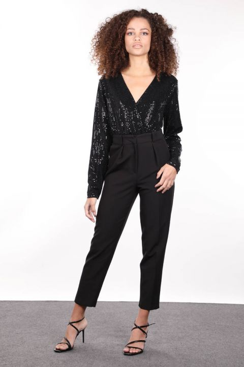 Women's Black Sequined Double Breasted Collar Bodysuit