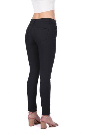 Women's Black Stone Detailed Plus Size Jean Trousers - Thumbnail