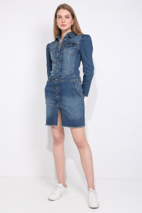 Women's Blue Buttoned Sleeve Pleated Detailed Jean Dress