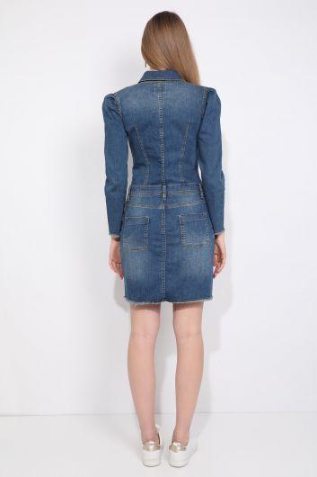 Женское синее джинсовое платье со складками и рукавами с пуговицами - Thumbnail
