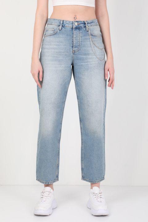 Женские широкие джинсовые брюки с цепочкой синего цвета