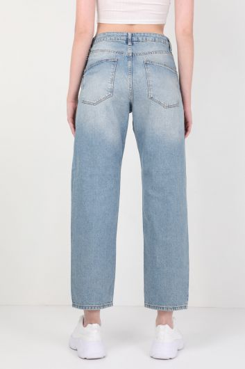 Женские широкие джинсовые брюки с цепочкой синего цвета - Thumbnail