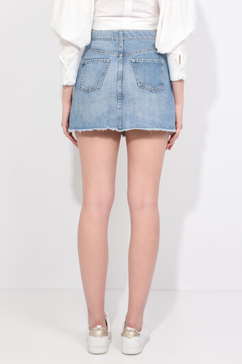 Women's Blue Cut-Out Mini Jean Skirt - Thumbnail