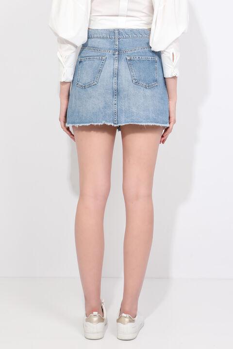 Женская синяя джинсовая мини-юбка с вырезом