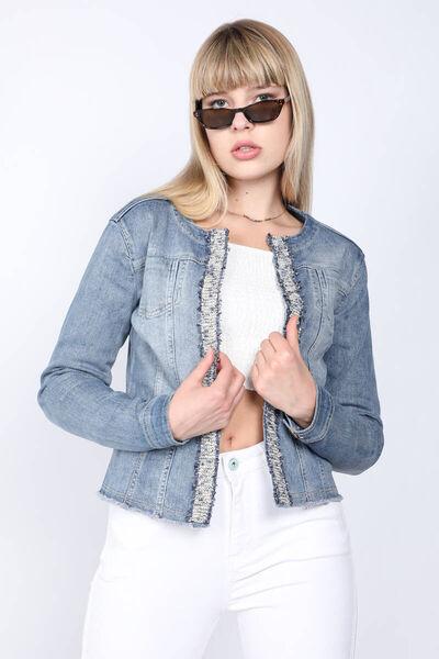 BLUE WHITE - Women's Blue Flared Jean Jacket (1)