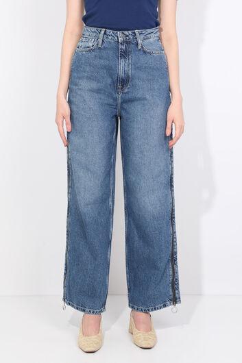 Women's Blue Side Zipper Palazzo Jean Trousers - Thumbnail