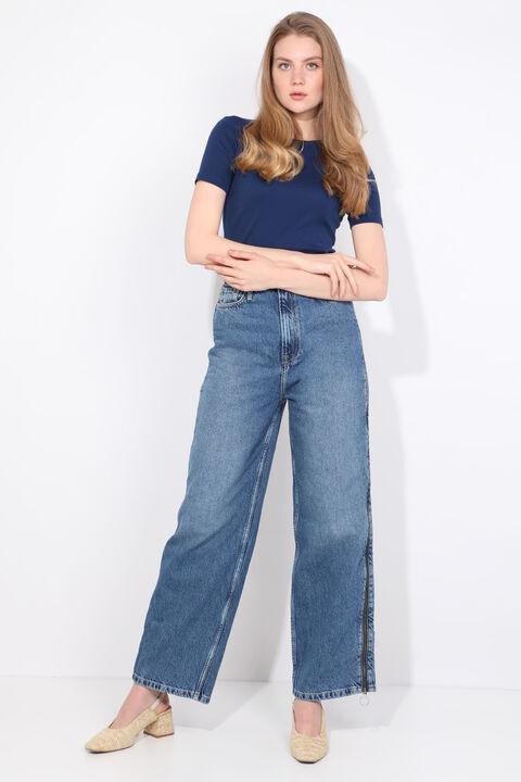 Women's Blue Side Zipper Palazzo Jean Trousers
