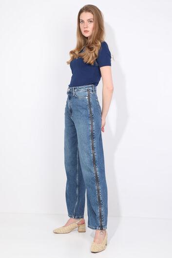 MARKAPIA WOMAN - Женские синие джинсовые брюки с застежкой-молнией сбоку (1)