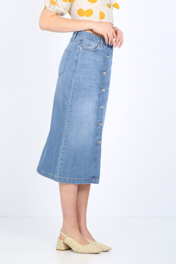 BLUE WHITE - Women's Buttoned Long Jean Skirt Light Blue (1)