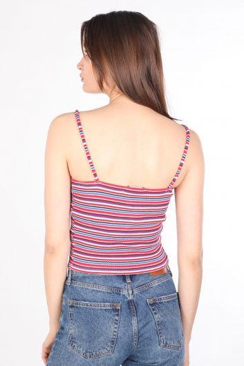 Женская блузка в яркую полоску с ремешками - Thumbnail