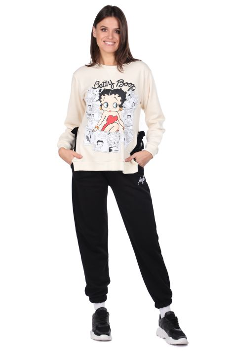 سويت شيرت نسائي Ecru Betty Boop مطبوع