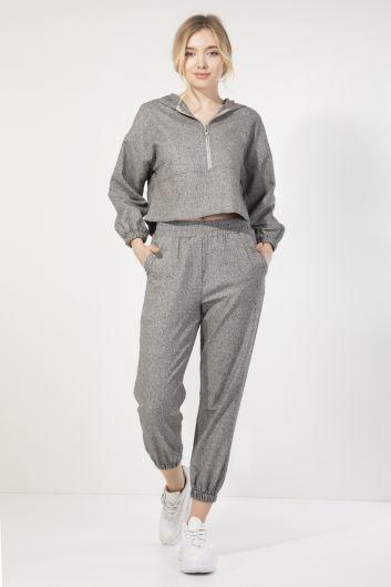 Женский серый спортивный костюм-джоггер с капюшоном - Thumbnail