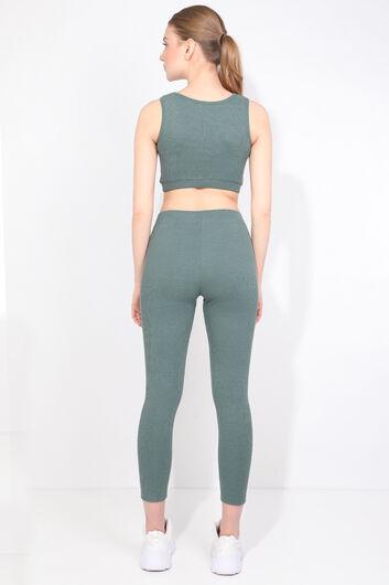 طقم لباس ضيق رياضي مضلع أخضر نسائي - Thumbnail