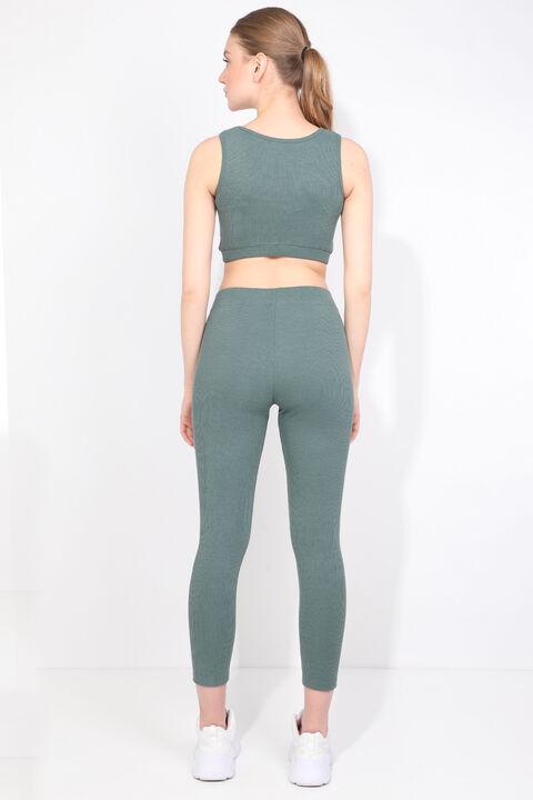 طقم لباس ضيق رياضي مضلع أخضر نسائي