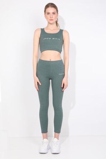 JACK WILLS - Комплект женских спортивных колготок зеленого цвета в рубчик (1)