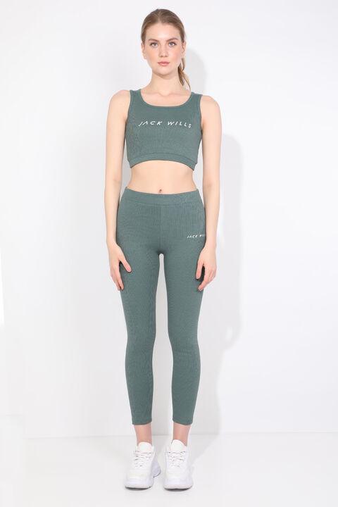 Комплект женских спортивных колготок зеленого цвета в рубчик
