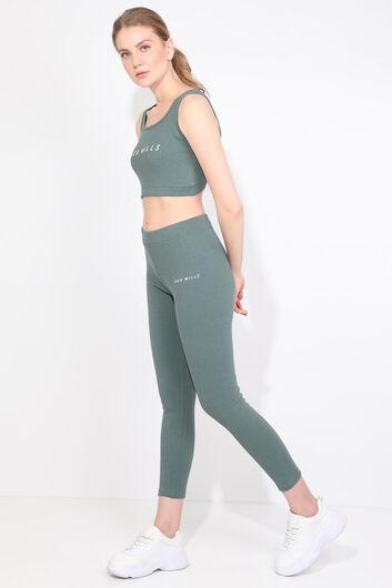 Women's Green Ribbed Sports Tights Set - Thumbnail
