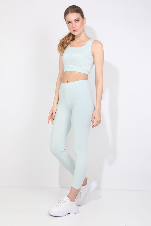 Women's Ice Blue Ribbed Sports Tights Set