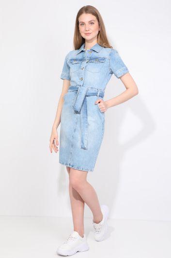 Women Light Blue Jean Dress - Thumbnail