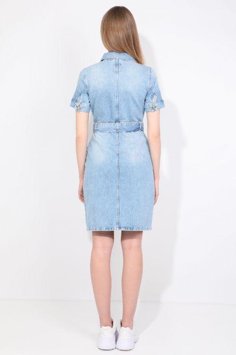 Women Light Blue Jean Dress