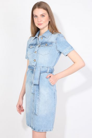 Женское голубое джинсовое платье - Thumbnail
