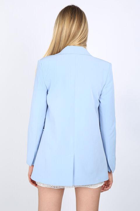 Женский голубой пиджак на подкладке