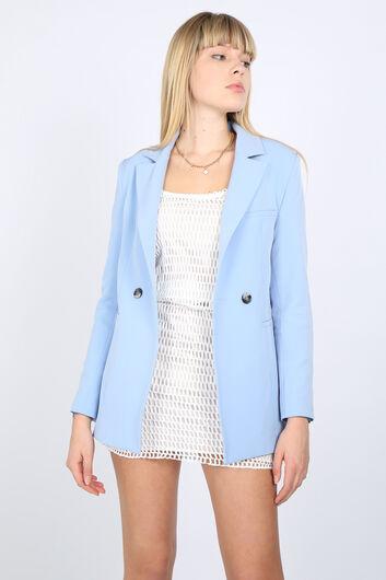 MARKAPIA WOMAN - Women's Light Blue Lined Blazer Jacket (1)