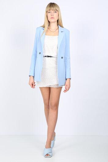 Women's Light Blue Lined Blazer Jacket - Thumbnail