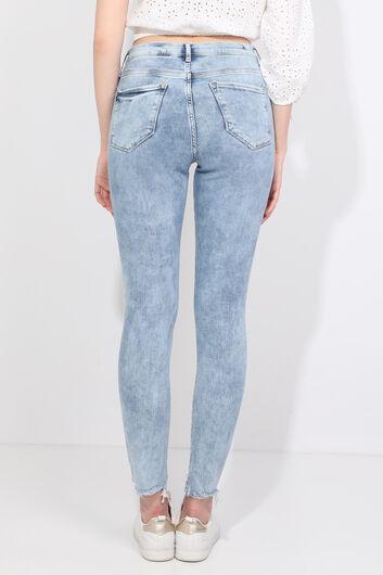 Женские голубые джинсовые брюки с вырезом - Thumbnail