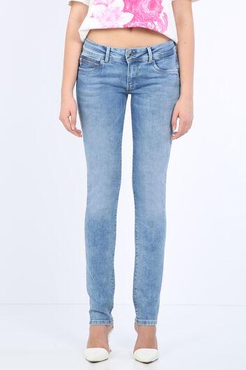 بنطلون جينز نسائي بجيب أزرق فاتح - Thumbnail