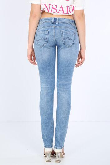 Women's Light Blue Pocket Detailed Jean Trousers - Thumbnail