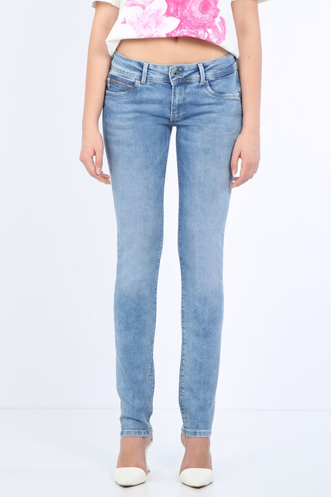 Женские голубые джинсовые брюки с детализированным карманом